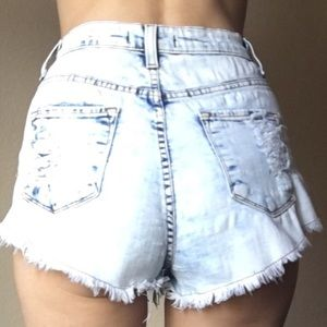 High waisted Vibrant distressed denim shorts S